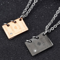 Stylish Jewelry Shiny Gift Titanium Couple Necklace Love and Story Necklace [10422077571]