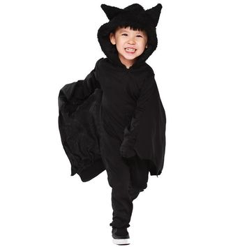 Yuerlian Kids Black Bat Hooded Jumpsuits Halloween Costume Cosplay Girls Boys Batman Roleplay Party Cosplay Uniform 2017 New Cos