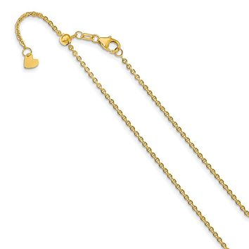 1.7mm 14k Yellow Gold Adjustable Flat Cable Chain Necklace