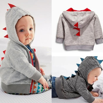 Funny Fashion Baby Boys Cute Dinosaur Hooded Long sleeve Tops Jacket Coat Sweatshirt [9145172742]
