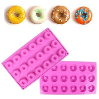 New 18 Cavity Silicone Donut Mold Ice Tray Chocolate Soap Cup Cake Bake Pan Mold