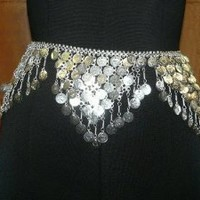 Bollywood Designer Belly Dance Jewelry Silver Metal Dangling Coin Belt: Kitchen & Dining