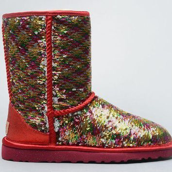 ESBON UGG 1002978 Flipped Over Sparkles Women Fashion Casual Wool Winter Snow Boots Red