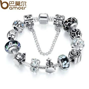 Silver Color Authentic Glass Bead Charm Bracelet With Safety Chain Luxury Engagement Bijoux PA1843