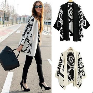 Fashion Women Casual Oversized Knit Sleeve Sweater Coat Knitwear Cardigan Jacket = 1958426308