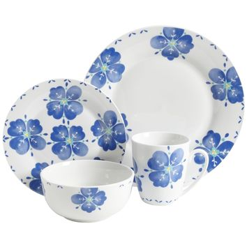 Gibson Home Classic Riviera 16 Piece Dinnerware Set in Floral Print