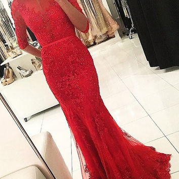 Long Sleeve Red Lace Mermaid Prom Dress
