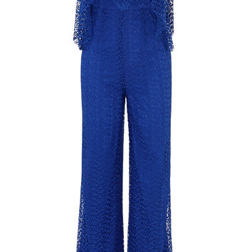 Free People Blue Lace Block Party Jumpsuit