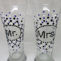 Mr. and Mrs. Hand Painted Beer Glasses - Black, White, and Purple Accents