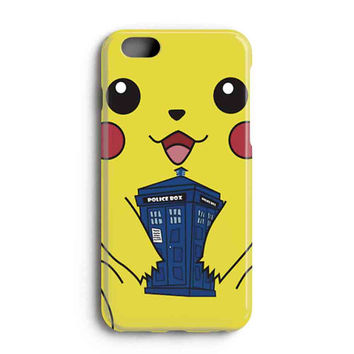 """Apple Iphone 6 4.7"""" Case - The Best 3d Full Wrap Iphone Case - Pokemon Pikachu With Tardis Public Police"""
