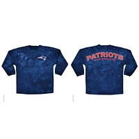 New England Patriots Logo Tie Dye Sweeper Long Sleeve Oversized Top Shirt Jersey