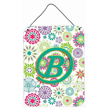 Letter B Flowers Pink Teal Green Initial Wall or Door Hanging Prints CJ2011-BDS1216