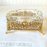 Antique Footed Matson Inspired Ashtray / Hollywood Regency Mad Men Decor / Glamour / Re-purposed Trinket