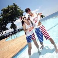 US Flag Beach Holiday Shorts for Couple RTY44