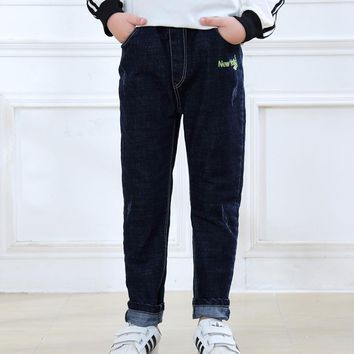 SheeCute Boys Spring Autumn jeans Kids Denim pants children's casual Fit Stretch Straight trousers jeans JCH8801