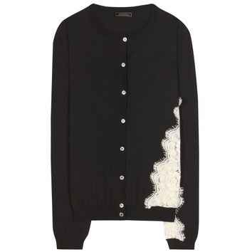 nina ricci - lace-trimmed cotton cardigan