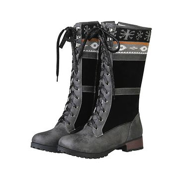 Leather Lace Up Suede Patchwork Boots