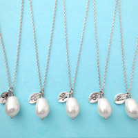Set of 6 Bridesmaid, Pear, Pearl, Initial, Necklaces, One, Pearl, Necklace, Single, Pearl, Pendant, Necklaces, 6 Bridesmaids, Necklaces
