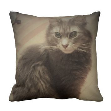 Cat Photo Throw Pillow