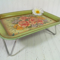 Vintage Florals EnamelWare Bed Tray Folding Table - Retro Metal ToleWare Portable Desk Design - Shabby Chic / BoHo Bistro Serving / Display