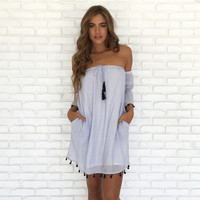 Athena Off Shoulder Shift Dress