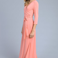 Solid 3/4 Maxi Dress - Coral
