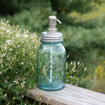 Blue Mason Jar Soap Dispenser with Stainless Metal Pump - Blue Quart Jar Lotion Bottle - Ball Perfect Mason