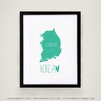South Korea - 11x17 typography print - travel print - korean poster - hangul print - map print - kpop poster - dbsk - tohoshinki - tvxq