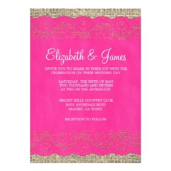 Hot Pink Rustic Lace Wedding Invitations