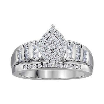 10kt White Gold Women's Diamond Oval Cluster Bridal Wedding Engagement Ring 2.00 Cttw - FREE Shipping (US/CAN)