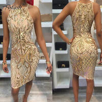 New Arrival Gold Sequined Patchwork Sheath Women Dress OFF Shoulder Slim Summer Dresses Empire Back Zippers Mini Dresses