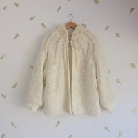 vintage 80s white knit jacket / faux fur trim sweater / boho glam cardigan / medium