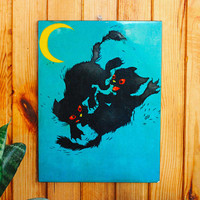 CAT FIGHT Wooden Wall Hanging / USSR Vintage Laminated Ink Graphics on a Block of Wood: 34,5 x 26cm / Black Cats Moonlight Fight Wall Art