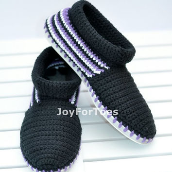 Crochet Shoes Black for the street  Outdoor Shoes Boots Made to Order