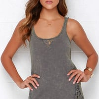 Others Follow Finders Keepers Washed Green Lace Tank Top