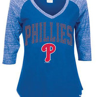 Philadelphia Phillies Ladies Fit Tee - Royal Phillies Rhinestone Raglan Long Sleeve Ladies Fit Tee