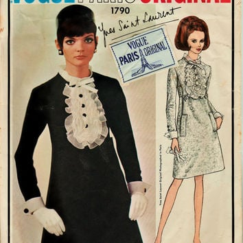 MOD 60's Vogue Paris Original Pattern 1790 w LaBeL YSL One Piece Dress w Detachable Collar & Cuffs Sz 12 Cut Complete Haute Couture Sewing