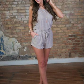Plain Sleeveless Halter Neck Romper