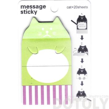 Kitty Cat Shaped Animal Themed Adhesive Memo Message Post-it Letter Paper Sticky Pad
