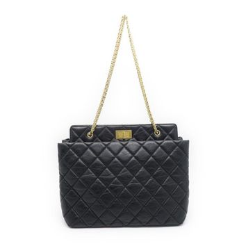 Chanel Quilted Calfksin Leather GHW Chain Shoulder Tote Bag Black 5086