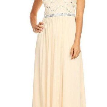 A-line Long Formal Dress Sleeveless with Sequins Champagne