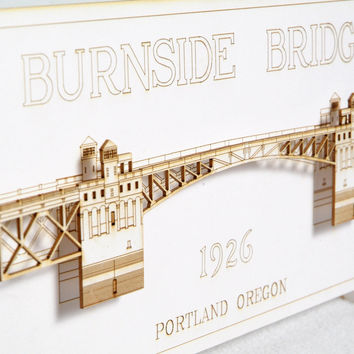 3D Laser Cut Bridge Card - Scale Model - Oregon Landmark - Laser Cut - Architectural - Miniature
