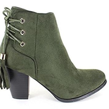 Urban Heels Women's SWIFT-05 Faux Suede Casual Side Zip-up Chunky Heel Ankle Booties