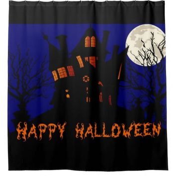 Happy Halloween Haunted House Shower Curtain