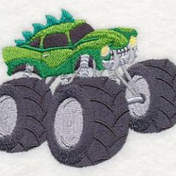 Hand Towel - Luxury White Cotton. MONSTER TRUCK design