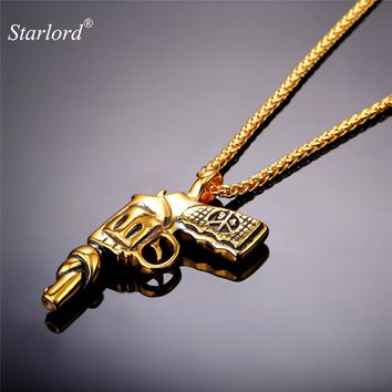 Starlord Steampunk Revolver/Gun Pendant&Necklace American Style Jewelry Cool Stainless Steel Gold Color Chain For Men GP1846