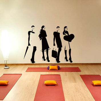 Wall Decal  Vinyl Sticker Set of silhouettes of fashion girls beauty saloon Art Design Room Nice Picture Decor Hall Wall Chu1007
