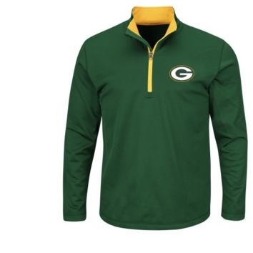 "Green Bay Packers Majestic NFL ""Scoreboard"" Men's 1/2 Zip Lightweight Sweatshirt"