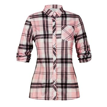 Pink Women Polo Shirt Casual Spring Plaid Button Blouse Girls Long Sleeve Shirts
