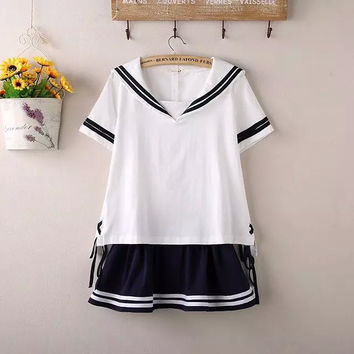 combination Summer Cute Women Sailor Navy Style Vintage Japanese School Uniform Tops Or Skirts Sold separately Suit